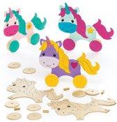 Sets met houten racers in de vorm van een eenhoorn voor kinderen om te maken en te versieren - Creatieve speelgoedknutselset voor kinderen (4 stuks per verpakking)