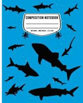 Composition Notebook: Wide Ruled - 100 pages - Shark BLUE Journal and Elementary Writing Composition Book for Boys, Girls and Kids