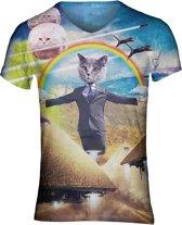 Illuminatie kattenshirt Maat: M V-hals