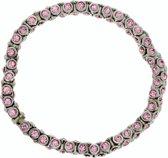 Elastische armband met roze steentjes
