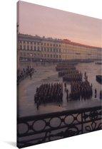 Militaire parade bij het Hermitage museum in Sint-Petersburg Canvas 40x60 cm - Foto print op Canvas schilderij (Wanddecoratie woonkamer / slaapkamer)