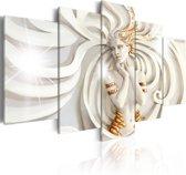 Schilderij - Godin van de Zon, Wit/Goud, 5luik