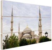 Blauwe moskee Turkije Hout 80x60 cm - Foto print op Hout (Wanddecoratie)