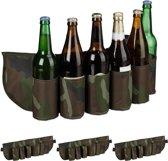 relaxdays 4 x bier gordel camouflage - drankgordel  voor blikjes of flesjes - bier riem