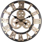 *Limited Edition* Retro Moderne Klok 60CM Rond Hout Brons met Wielen LW Collection / Ronde Muurklok Industrieel / Wandklok met wielen / Zwart brons Goud Retro Klok / Muurklok met Tandwielen Brons