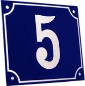 Emaille huisnummer blauw/wit groot nr. 5 18x15cm