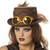 Hoge hoed Steampunk met bril bruin