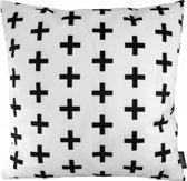 Wit - Zwart Kruisjes Kussenhoes | Katoen/Flanel | 45 x 45 cm