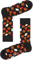 Happy Socks - Hamburger Junkfood - Zwart/Multi - Unisex - Maat 41-46
