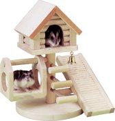 Flamingo Huis Wonderland - Knaagdieraccessoire - Bruin - 14,5 x 14,5 x 23 cm