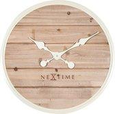 NeXtime Plank - Klok - Stil Uurwerk - Groot - Rond - Hout/Metaal - Ø50 cm - Wit