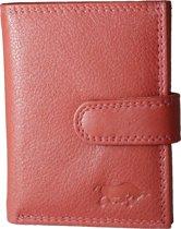 Pasjeshouder met RFID bescherming (anti skim) van Arrigo gemaakt van soepel ferrari rood rundleer. Deze mini portemonnee heeft ruimte voor 26 pasjes, briefgeld en een handig kleingeld vakje met rits