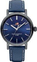 River Woods RW420032 Hudson horloge Heren - Blauw - Leer 42 mm
