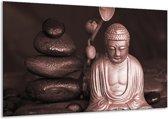 Schilderij | Canvas Schilderij Boeddha, Stenen | Bruin, Rood, Zwart | 120x70cm 1Luik | Foto print op Canvas