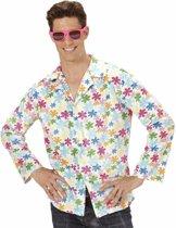 Hippie verkleed overhemd wit/gekleurd voor heren XL