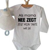 Romper tante - Wit   Zwart - Maat 62/68