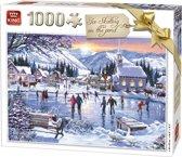 King Puzzel 1000 Stukjes (68 x 49 cm) - Schaatsen - Legpuzzel Winter