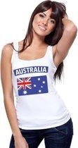 Singlet shirt/ tanktop Australische vlag wit dames M