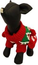 Gebreide kerst trui voor de hond - M ( rug lengte 32 cm, borst omvang 38 cm, nek omvang 24 cm )
