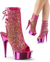 EU 40 = US 10   DELIGHT-1018MS   *6 Heel, 1 3/4 PF Open Toe/Heel Ankle Boot, Side Zip