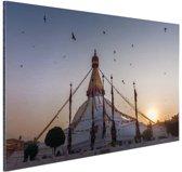 Monument Nepal Aluminium 90x60 cm - Foto print op Aluminium (metaal wanddecoratie)