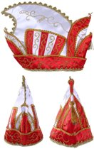 Prinsenmuts rood/wit mt 63 goud galon