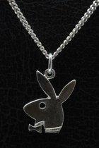 Zilveren Playboy Konijn ketting hanger