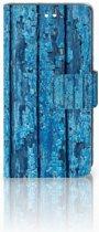 Sony Xperia XZ1 Compact Uniek Boekhoesje Wood Blue