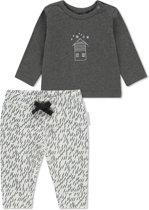 Noppies Unisex T-shirt lange mouw met all over print broek Queluz - Grey Melange - Maat 56