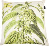 In The Mood Botanic Brandnetel - Sierkussen - 50x50 cm - Ecru/Groen