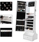 Luxe Sieradenkast Met Spiegel & LED Verlichting - Spiegeldeur Kast - Staande Sieraden Spiegelkast - Make-up Cosmetica Passpiegel - Afsluitbaar