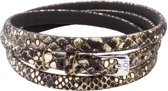 Joy de la Luz Leather Buckle Bracelet Black/Gold Armband JB544