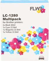 FLWR - LC-1280XL 5-pack / Zwart & Kleur - Geschikt voor Brother