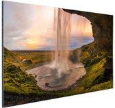 Waterval in IJsland Aluminium 60x40 cm - Foto print op Aluminium (metaal wanddecoratie)