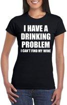 Drinking problem wine tekst t-shirt zwart dames XL
