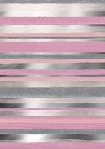 Roze met Zilver cadeaupapier Cabo Raya - Toonbankrol breedte 50cm - 150m lang
