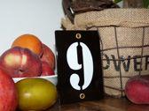 Emaille huisnummer zwart 8x12 nummer '9'