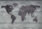 Fotobehang World Map Concrete Texture | L - 152.5cm x 104cm | 130g/m2 Vlies