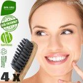4 x Ecologische Bamboe Tandenborstel - Zwart - Vegan Bamboo Tandenborstels Set van 4 - Milieuvriendelijk, Recyclebaar en Biologisch Afbreekbaar - Zacht / Medium