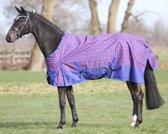 Regendeken de luxe 0 gram paardendeken met fleecevoering Kobaltblauw ruit maat 215