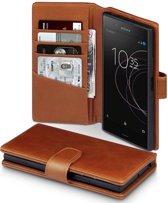Qubits luxe echt lederen wallet hoes Sony Xperia XZ1 cognac