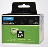 2x Dymo etiketten LabelWriter 89x36mm, transparant, 260 etiketten