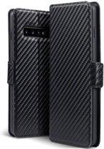 Hoesje voor Samsung Galaxy S10, carbon look 3-in-1 bookcase, zwart
