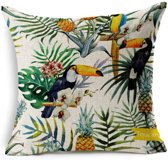 Kussenhoes Jungle Birds 2| Kussen 45 x 45 cm met Rits