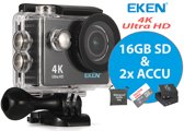 EKEN Action Camera H9R 4K Ultra HD + Wifi + 23 access & 12MP foto met OmniVision Chipsensor 4689 + Sandisk 16GB SD + Extra Accu + Waterproof bag