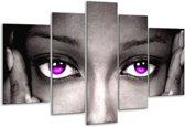Glasschilderij Gezicht | Zwart, Wit, Paars | 170x100cm 5Luik | Foto print op Glas |  F002299