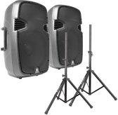 Vonyx SPJ-1500A 15 speakerset 1600W met standaards