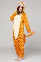KIMU Onesie Teigetje pak tijger kostuum - maat L-XL - tijgerpak oranje jumpsuit huispak tijgertje Winnie de Poeh festival