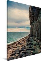 Schotse basaltkolommen bij Fingal's Cave in Europa Canvas 120x180 cm - Foto print op Canvas schilderij (Wanddecoratie woonkamer / slaapkamer) XXL / Groot formaat!