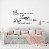 Muursticker Live Laugh Love -  Geel -  120 x 68 cm  - Muursticker4Sale
